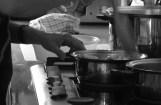 Cooking the mushroom sauce