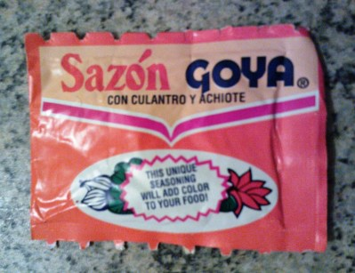 Sazon Goya is a Latino spice blend with cilantro and annatto