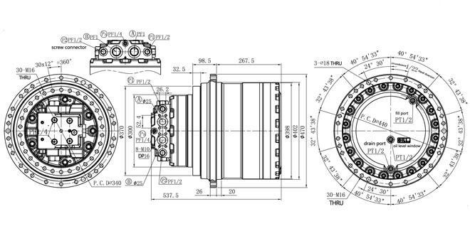 KOMATSU pc300-7 υδραυλικό ταξιδιού κιβώτιο ταχυτήτων 208