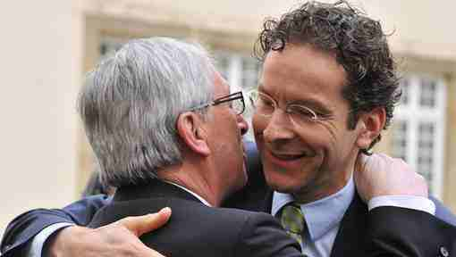 "#Dijsselbloem: ""We get hugs and wet kisses with #Juncker, every time we meet"" ( obviously, not spending money on women. For drinks we're not sure…)"