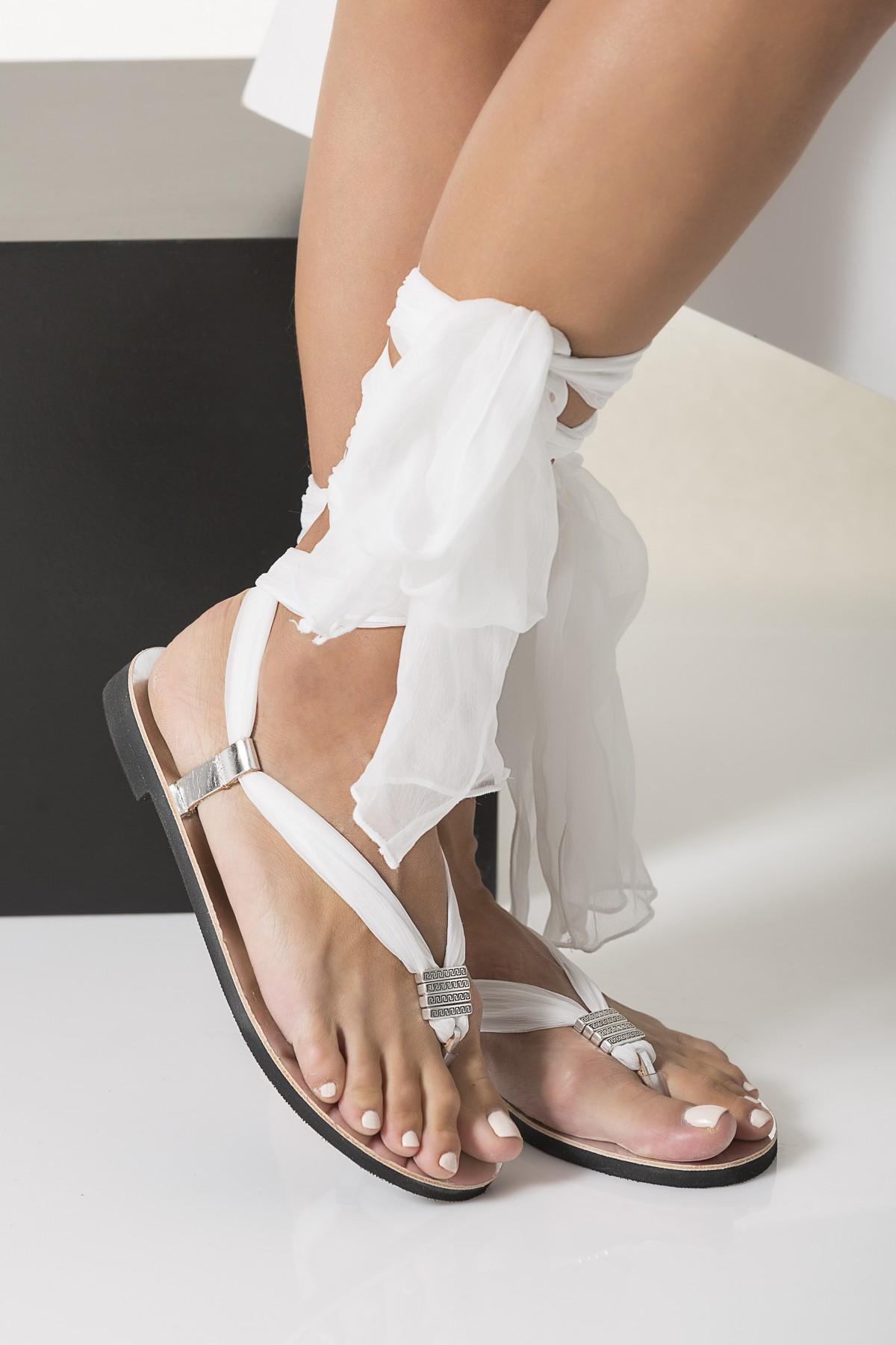 Flat wedding sandals with silk laces Fully Customizable Sophia  Greek Chic Handmades