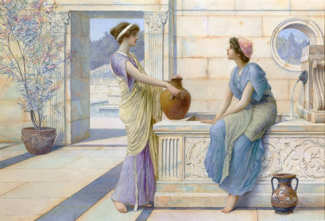 Two Women of Ancient Greece Filling Their Water Jugs at a Fountain (women of Corinth). Painting by Henry Ryland