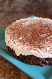Here is the round one I made - topped with fresh whipped cream and chocolate.