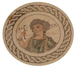 Ktisis mosaic on the floor of the bath