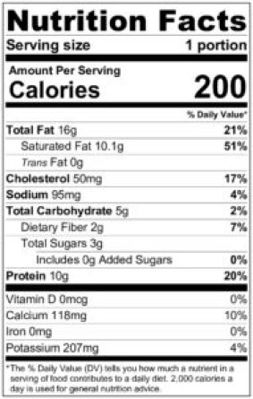 keto pudding nutrition label