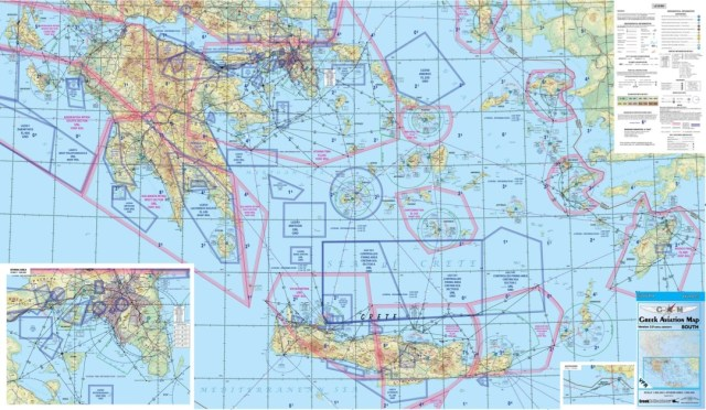 Aeronautical VFR chart covering the Greek FIR (Greek Aviation Map