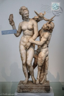 Marble statue of Aphrodite, Pan, and Eros