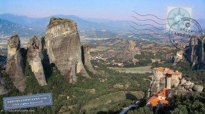 View of Meteora rocks formations with monasteries on top