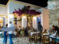 Night view of outdoor restaurants at Plaka