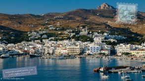 Town and harbor with boats at Tinos