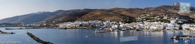 Tinos town and port panorama