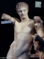 Torso of marble statue known as Hermes of Praxiteles