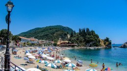 Bathers and parasols in Krioneri beach