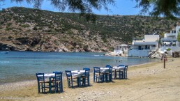 Restaurant tables and chairs at the beach