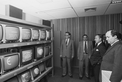 Launch of television studios of the Commission by Gaston Thorn