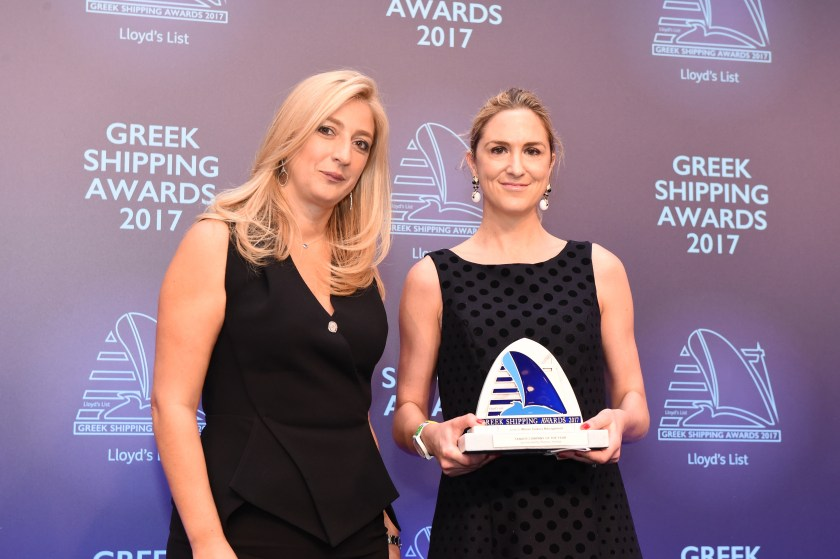 Paillette Palaiologou of sponsor Bureau Veritas presenting the Tanker Company of the Year Award to Dr. Maria Angelicoussis for Maran Tankers Management.