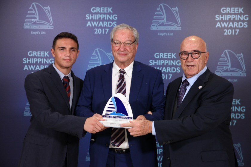 Dennis Vernardakis of Masters' Shipping (centre) accepting the Shipbroker of the Year Award from Capt. Panagiotis Tsakos and Panagiotis Tsakos Junior of sponsor The Tsakos Group.