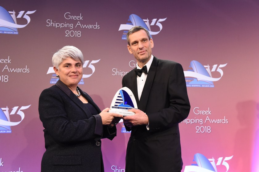 Angeliki Frangou accepting the Greek Shipping Newsmaker of the Year Award from Iain White of sponsor Exxon Mobil.