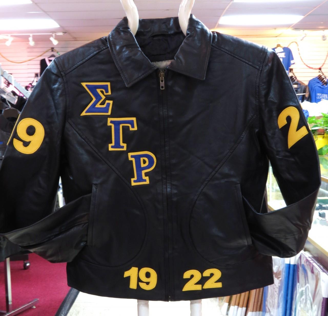 Sigma Gamma Rho FittedBomber Leather Jacket  The Greek Shop