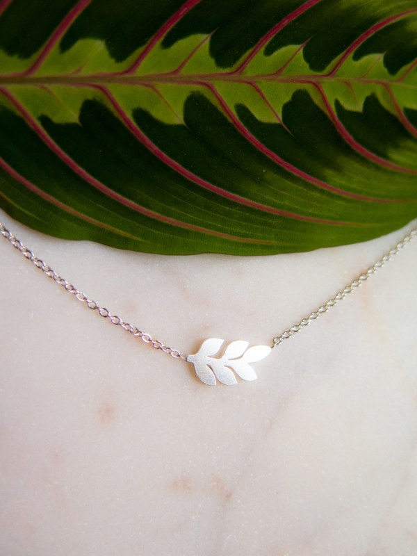 Branch with leaves necklace sterling silver