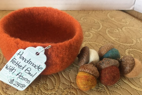 Handmade Felted Bowl with Acorns - Green Acres Antiques Marietta OH