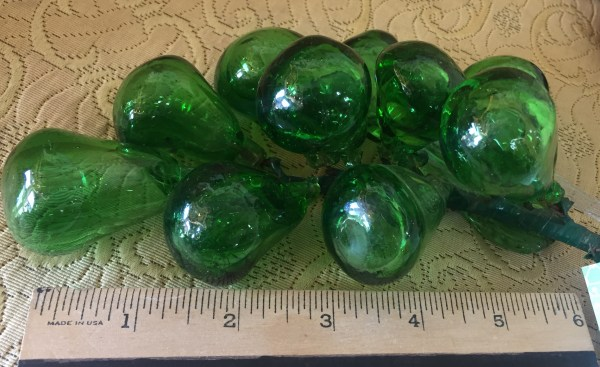Beautiful Handblown Green Glass Grapes - Green Acres Antiques Marietta OH