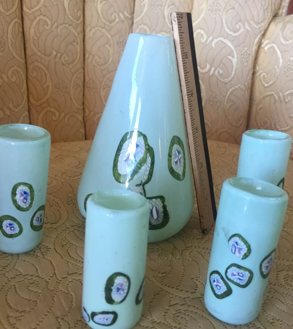 Millie Fiori Handblown 5 Piece Glass Set - Green Acres Antiques Marietta OH