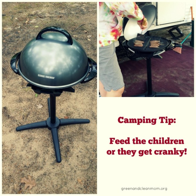 Tips for camping with children, including a review of the new George Foreman Electric Grill.