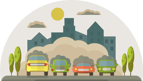 Cars pollute the environment. Smoke from cars covers the house a