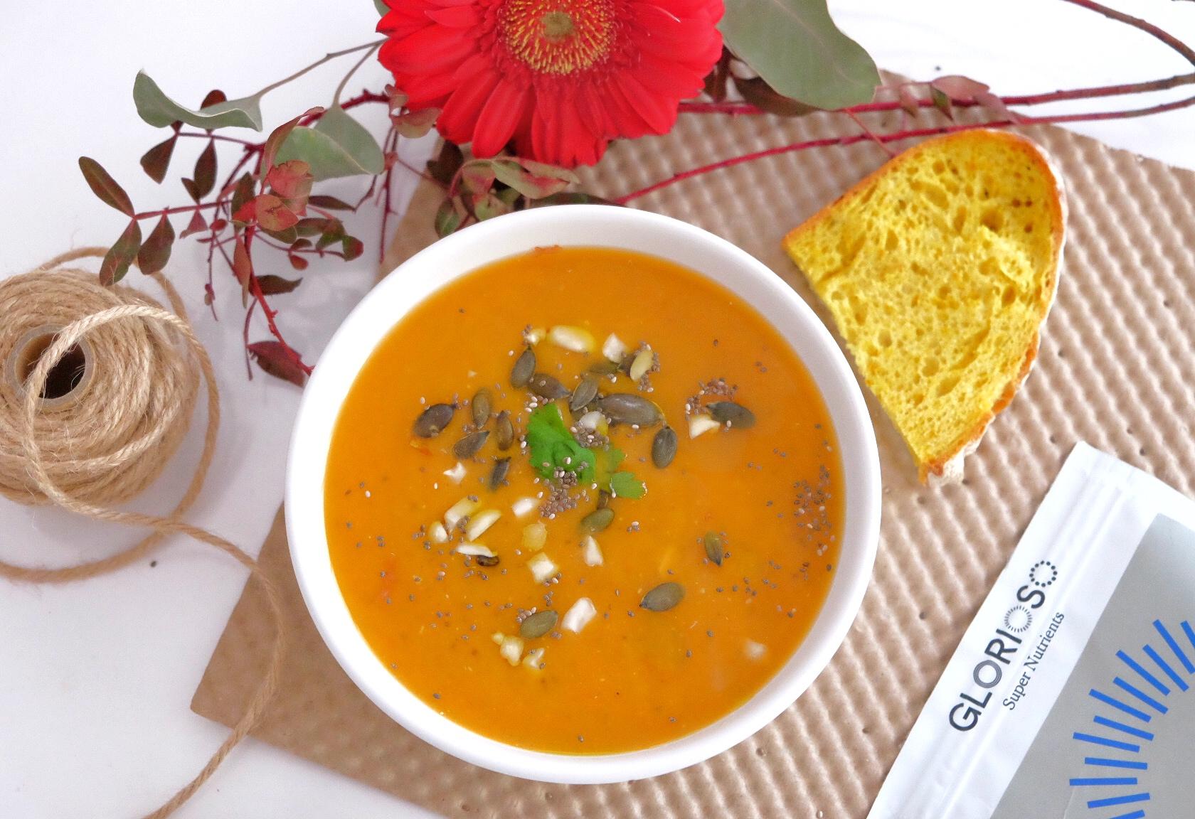 Sweet potato soup with chia seeds