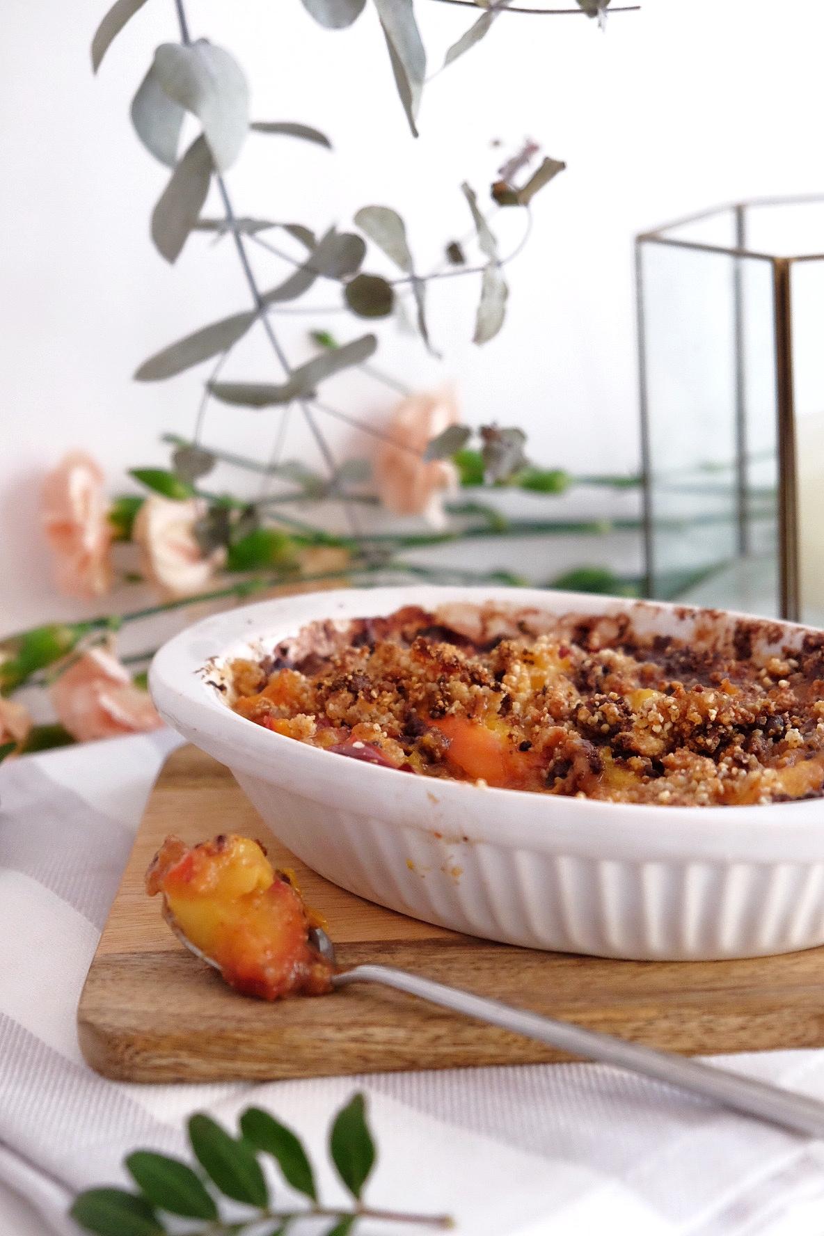 Crumble de albaricoques y nectarinas, hecho con mucho amor !