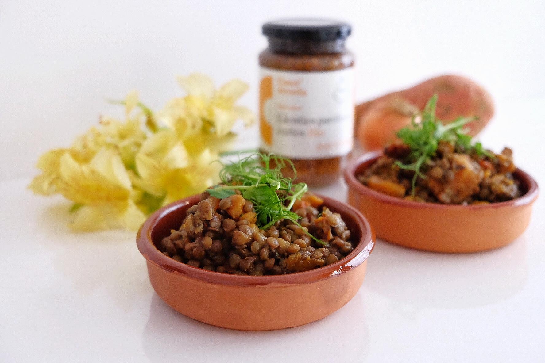 Lentilles aux tomates séchées et à la patate douce