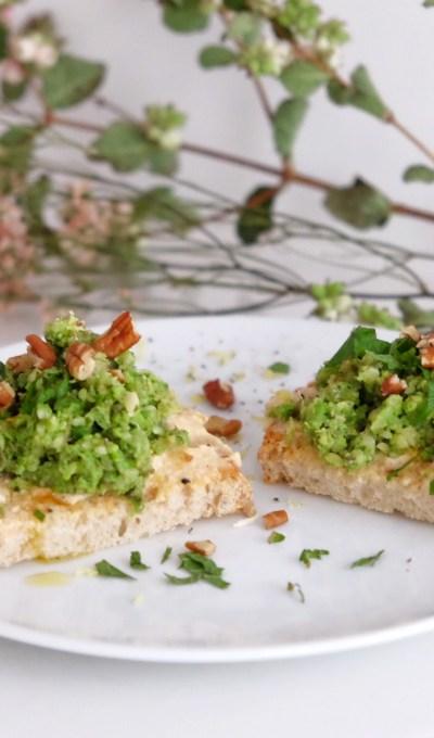 Tostada verde de soja y guisantes