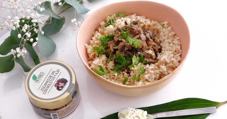 Champignons à la cannelle accompagnés de riz