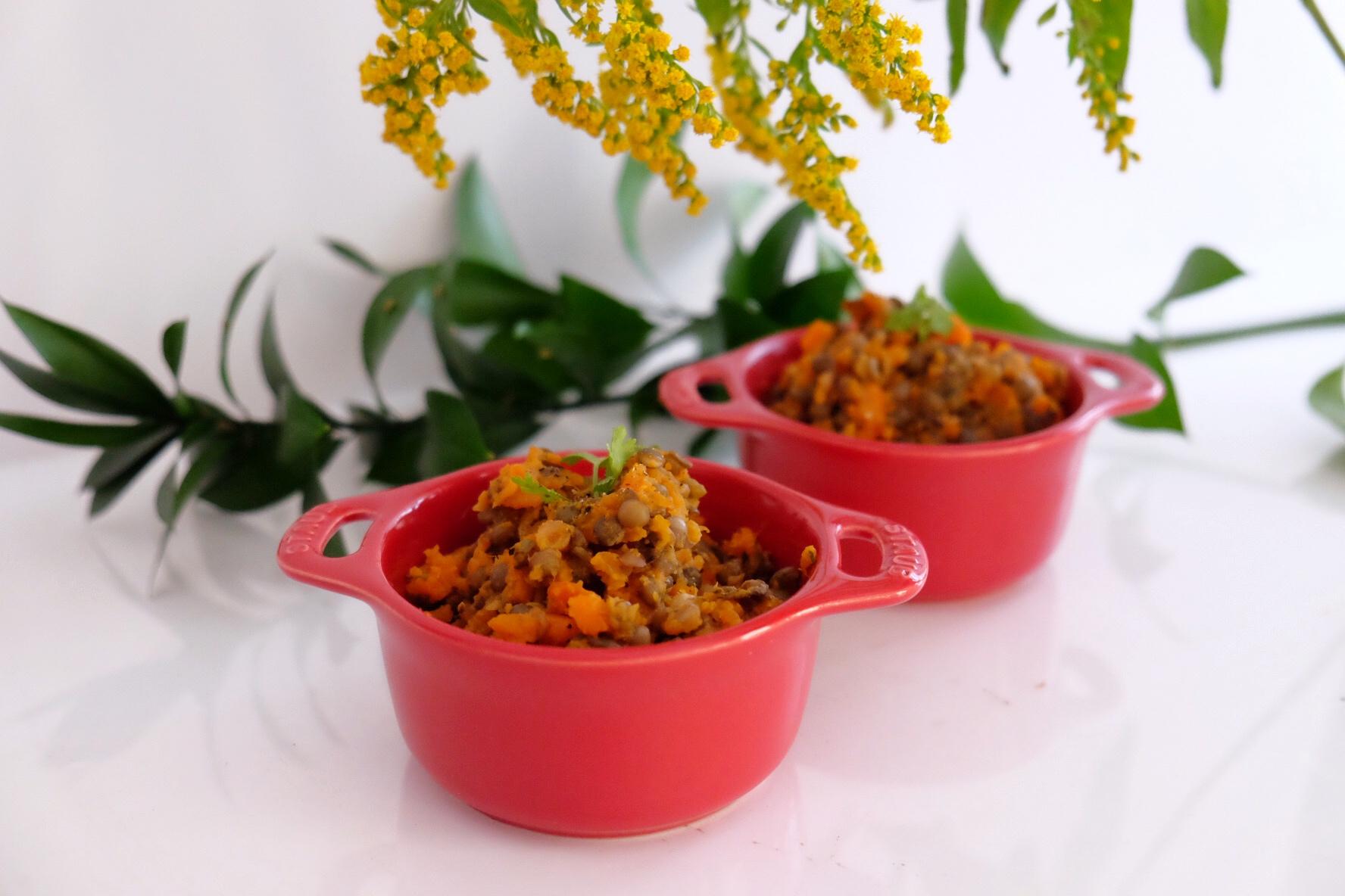 Purée de patates douces, carottes et lentilles