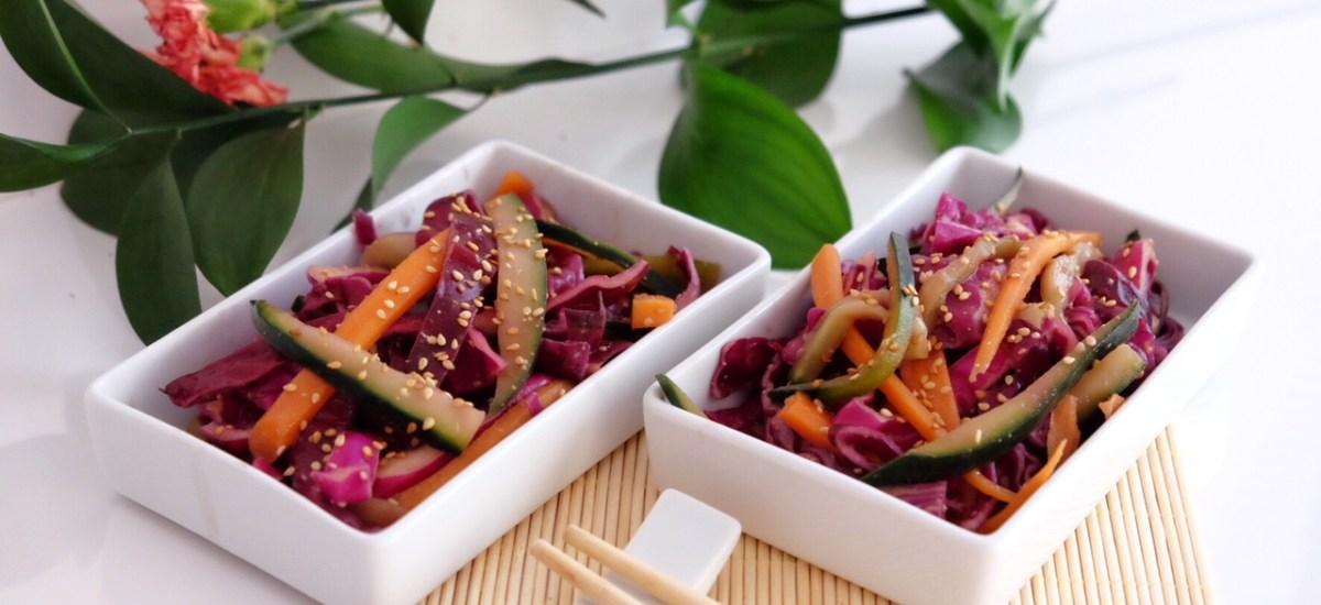 Salad of red cabbage, carrot, cucumber and tamari sauce