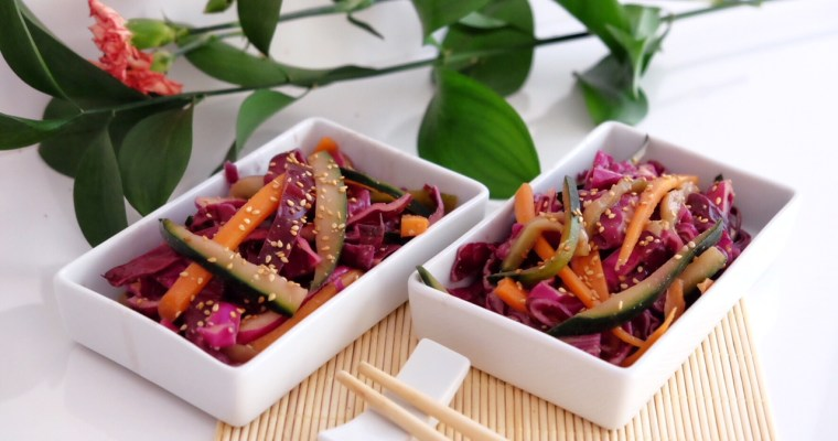 Salad  of red cabbage, carrot, cucumber and tamari sauce