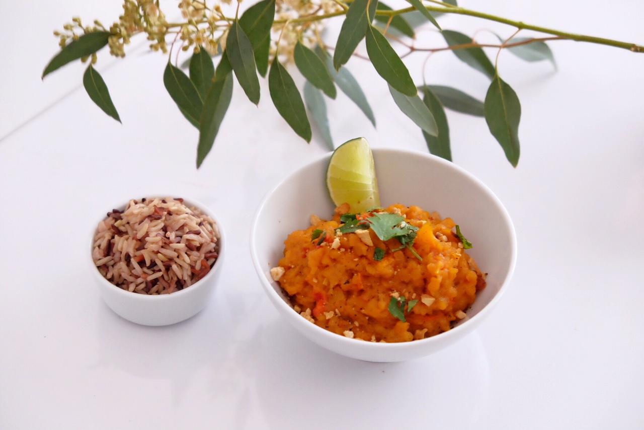 Lentilles corail au lait de coco et riz