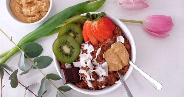 Porridge de chocolate y manteca de cacahuete