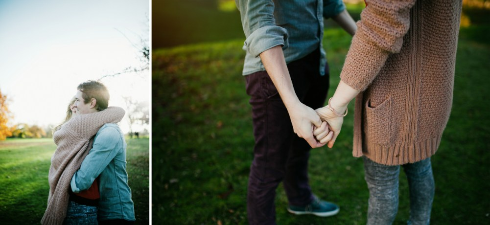 Couple holding hands at a photo shoot in Greenwich Park in London