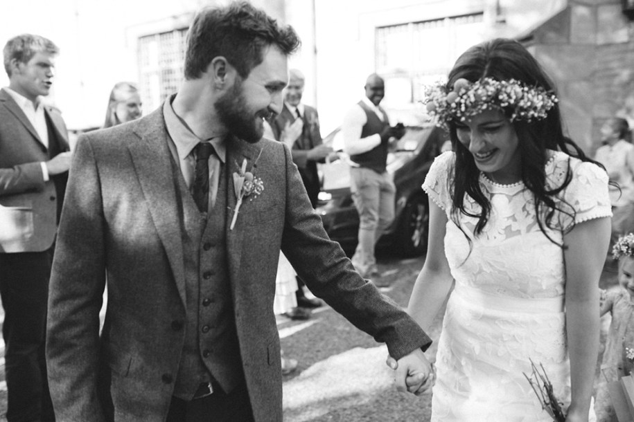 festival wedding after the ceremony by Hawarden wedding photographer
