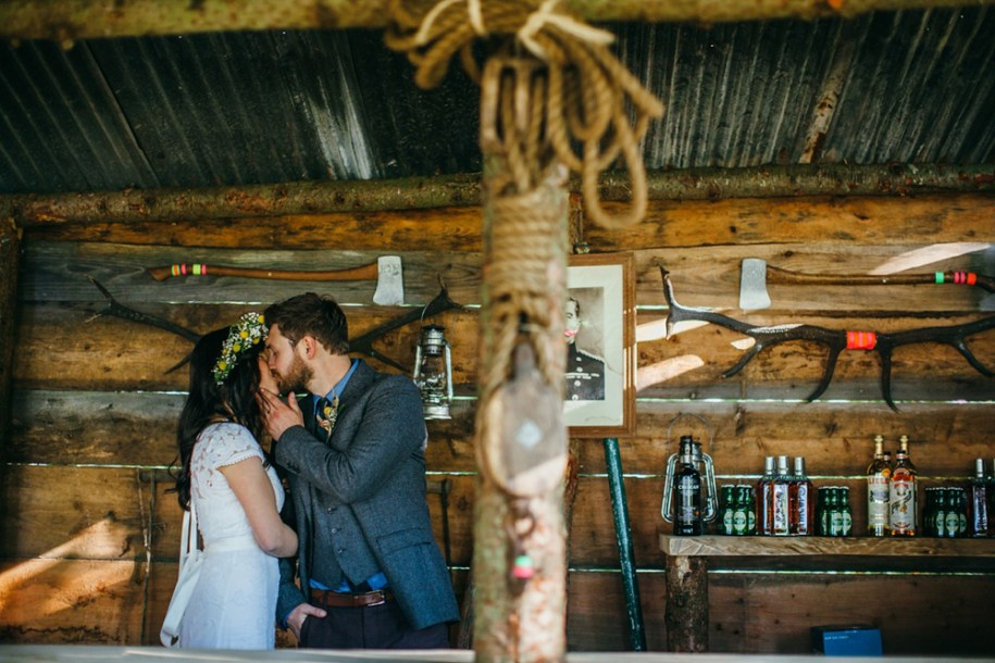 festival wedding kissing by hawarden wedding festival