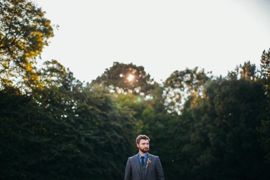 groom's portrait by a hawarden wedding photographer