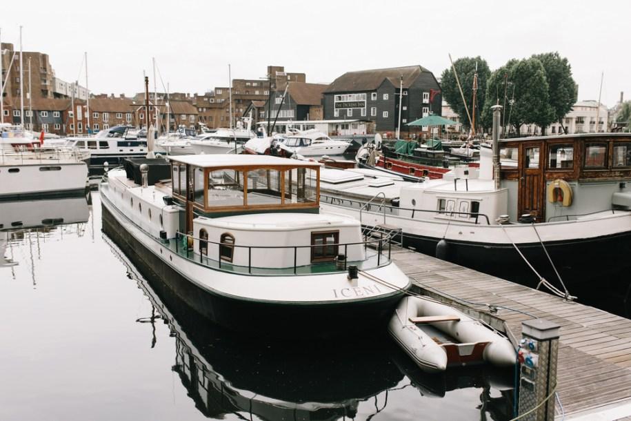 Boats on St Katherine's Docks, London hidden gem