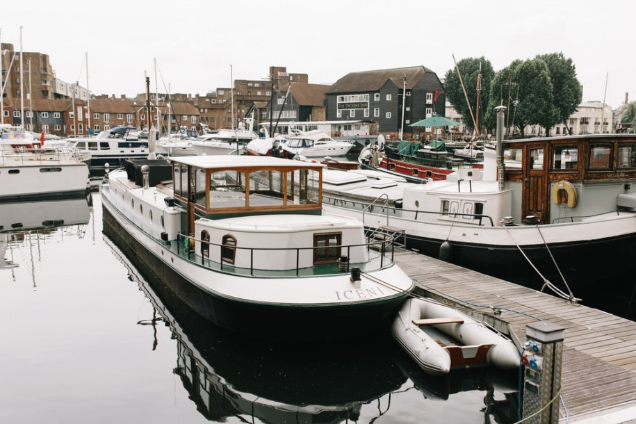 Boats on St Katherine's Docks, London hidden gem
