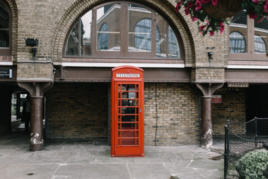 Red Telephone cabin in London, at St. Katherine's Docks