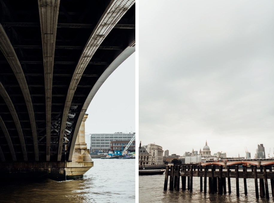 Under the bridge on river Thames in south bank