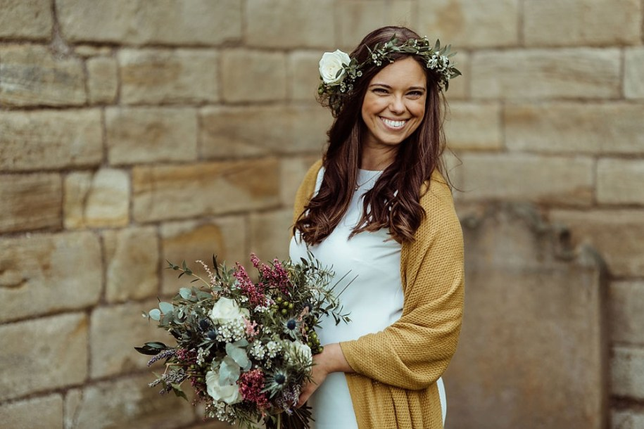 boho bride portrait in Tynemouth citadel