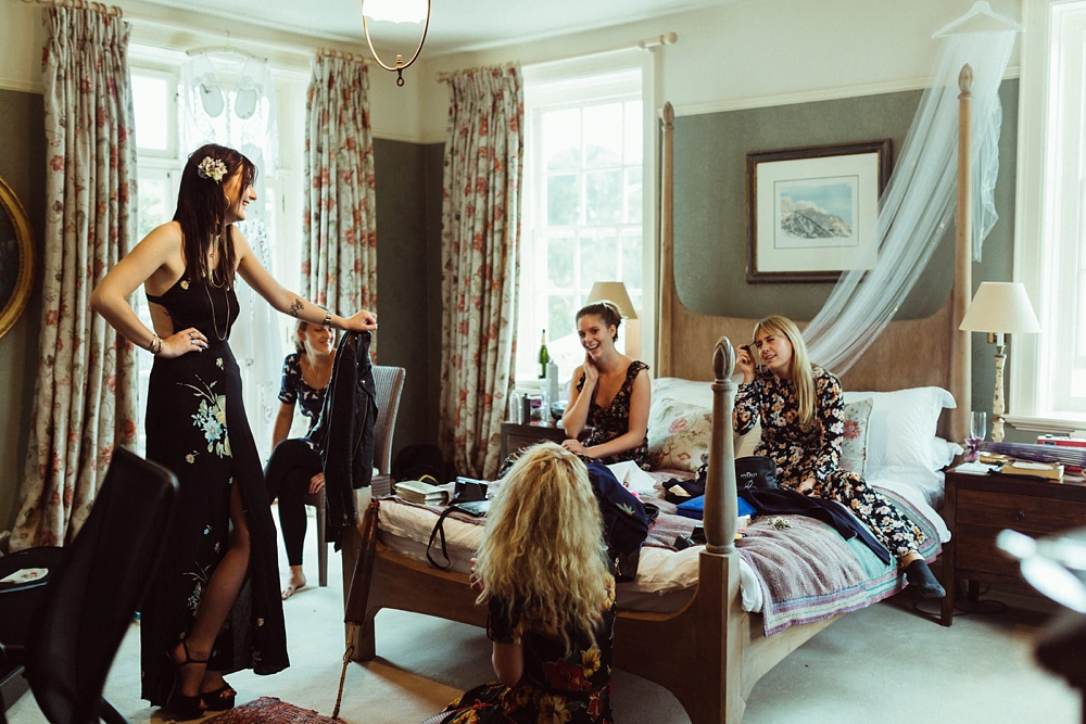 bridesmaids at bride's home on the morning of the wedding in New Forest, England