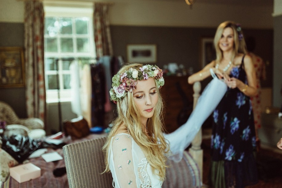 bride and mother getting ready in the morning at her New Forest home